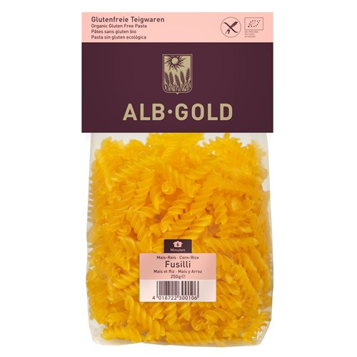 MAKARON KUKURYDZIANO RYŻOWY FUSILLI BIO BEZGLUTENOWY - 250g [Alb Gold]