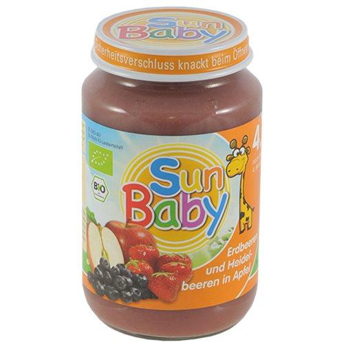 DESER TRUSKAWKA, JAGODA, JABŁKO BEZGLUTENOWY BIO - 190g [Sun Baby]