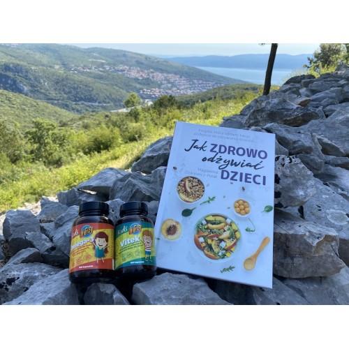 """Zestaw: książka ,,Jak zdrowo odżywiać dzieci"""" + Kids Vitek + Kids Omega"""